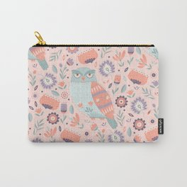 Folk Art Owl in Pink Carry-All Pouch