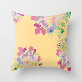 Petite Had Drawn Collection Bouquet Throw Pillow