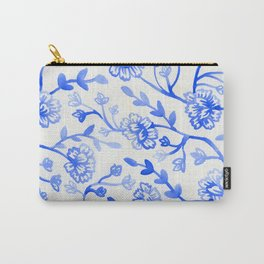 Watercolor Peonies - China Blue Carry-All Pouch