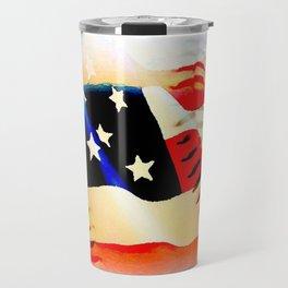 Baseball And Americn Flag Painting By Annie Zeno  Travel Mug