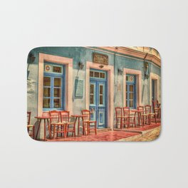 Pastel Cafe Peloponnese Greece Bath Mat