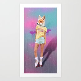 Roller Fox Girl Pepe Psyche Art Print