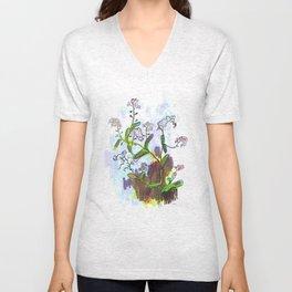 """Original Flower print """"Forget Me Not"""" Unisex V-Neck"""