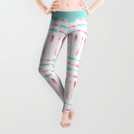 Trendy pink teal watercolor arrows pattern Leggings