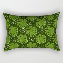 Gold Monstera Leaves in Green Rectangular Pillow