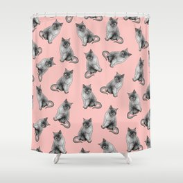Cute Girly Pink Cats Animal Pattern Illustrations Shower Curtain