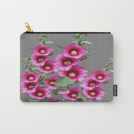 Fuchsia Pink Holly Hocks Grey Vinette Carry-All Pouch
