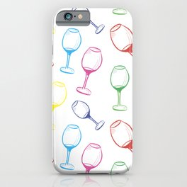 Print with wine glasses. Drawn colored wine glasses on white. Multicolor iPhone Case