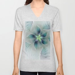 A Floral Fantasy, Abstract Fractal Art Unisex V-Neck