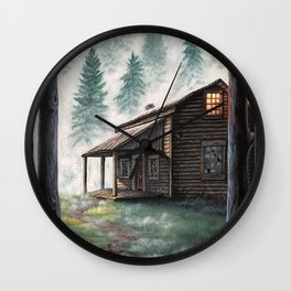 Cabin in the Pines Wall Clock