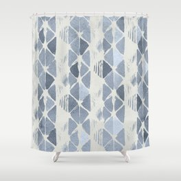 Simply Braided Chevron Indigo Blue on Lunar Gray Shower Curtain