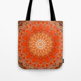 Detailed Orange Boho Mandala Tote Bag