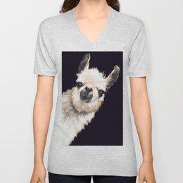 Sneaky Llama in Black Unisex V-Neck