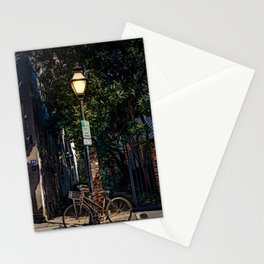 Bicycle Chained to Black Lamp Post Stationery Cards
