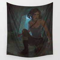 tomb raider Wall Tapestries featuring Reborn by juls illustrated