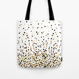 Floating Dots - Black and Gold on White Tote Bag