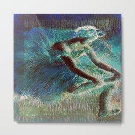 The Dancer by Edgar Degas Teal Metal Print