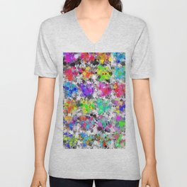 colorful psychedelic splash painting abstract texture in pink blue purple green yellow red orange Unisex V-Neck