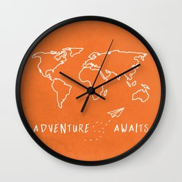 Adventure Map - Retro Orange Wall Clock
