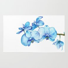 Blue Orchids Two - Watercolor Rug