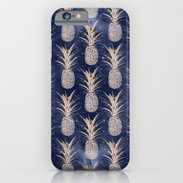 Modern Golden pineapples nebula pattern iPhone Case