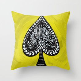 Spade and Flowers Painting Throw Pillow