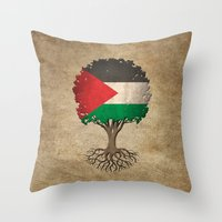 palestine Throw Pillows featuring Vintage Tree of Life with Flag of Palestine by Jeff Bartels