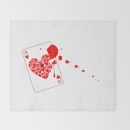 Ace of Hearts With Blood Throw Blanket