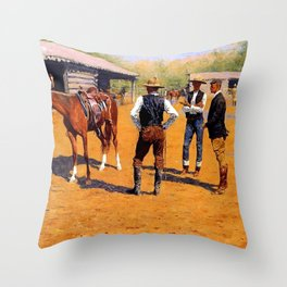 "Frederic Remington Western Art ""Buying Ponies"" Throw Pillow"