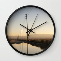 telephone Wall Clocks featuring Telephone Reflection by Shy Photog