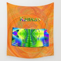 kansas Wall Tapestries featuring Kansas Map by Roger Wedegis