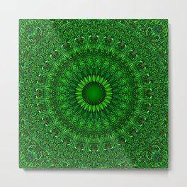 Green Garden Mandala Metal Print