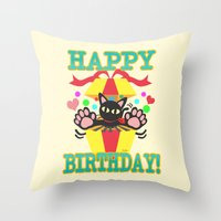 happy birthday Throw Pillows featuring Happy Birthday! by BATKEI