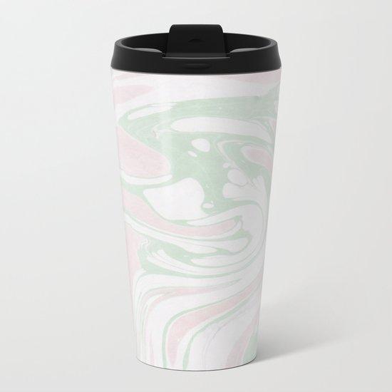 Paper Marbling Marble Effect Swirl Pink Green Metal Travel Mug