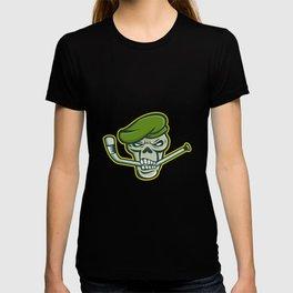 Green Beret Skull Ice Hockey Mascot T-shirt