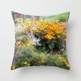 Southern English Flower Garden Throw Pillow