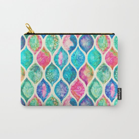 Watercolor Ogee Patchwork Pattern Carry-All Pouch