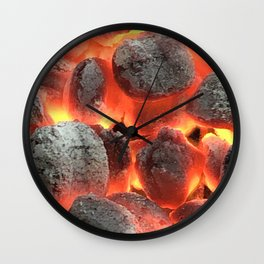 Fiery Red Hot Coals Photography Wall Clock