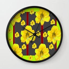 LIME-GREY YELLOW AMARYLLIS BLACK-RED DECO ART Wall Clock