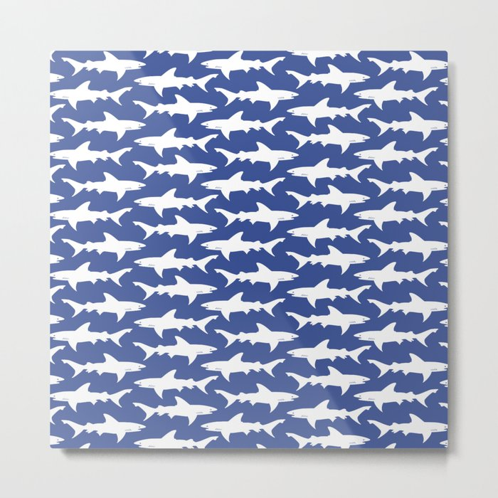 School of Sharks Blue Ocean Metal Print