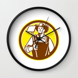 Organic Farmer Holding Grab Hoe Circle Retro Wall Clock