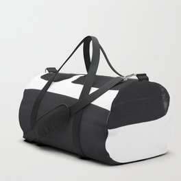Black And White Minimalist Mid Century Abstract Ink Art Simple Brush Strokes Square Exclamation Mark Duffle Bag