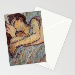 Henri De Toulouse Lautrec In Bed The Kiss Painting Stationery Cards