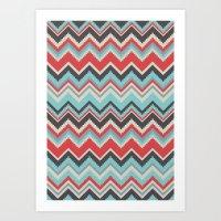 Aztec chevron pattern- grey Art Print
