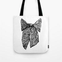 bow Tote Bags featuring Bow by Samantha Turnbull