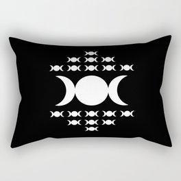 Triple Moon Goddess - White on Black Rectangular Pillow