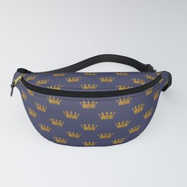 Mini Gold Crowns on Royal Blue Fanny Pack