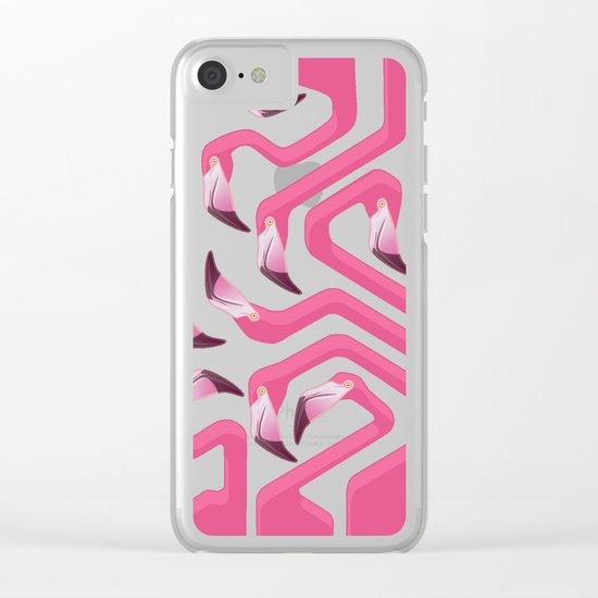Flamingo Maze Clear iPhone Case
