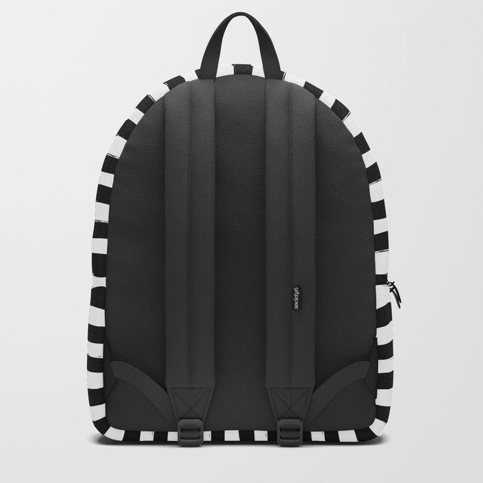 Black And White Hand Drawn Horizontal Stripes Backpack
