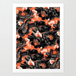 Mount Cook Lily - Orange/Black Art Print